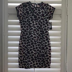 Dress- black with purple leopard print